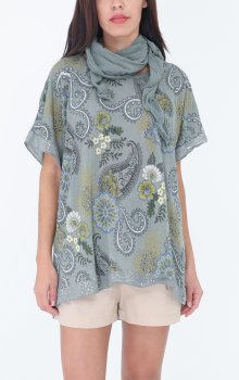 Efashion Chana - Blus 6254 Paisley med scarf